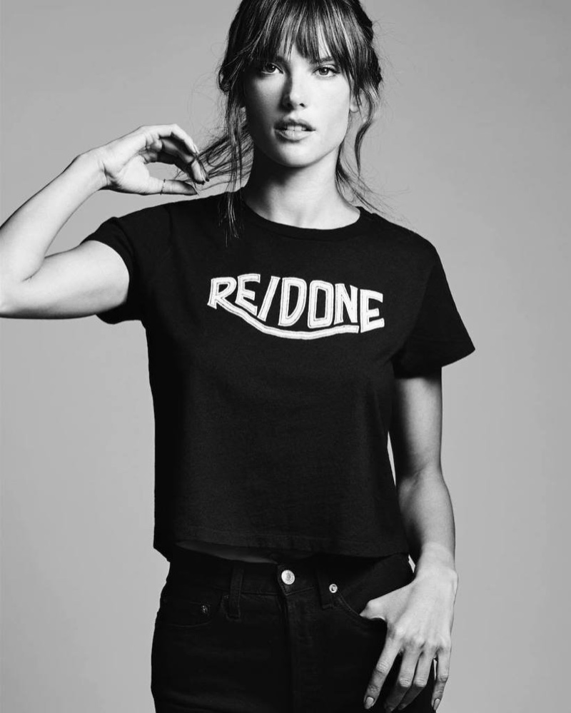 Alessandra Ambrosio poses for Re/Done 2017 campaign