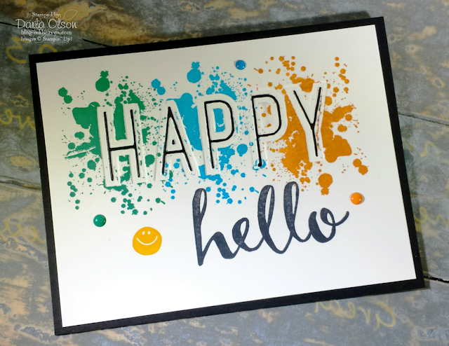 Handmade card created with Celebrations Duo Embossing Folder, Gorgeous Grunge, and Hello shared by Darla Olson at Inkheaven