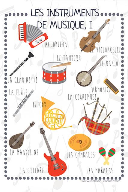 les instruments de musique, vocabulaire, infographie, FLE, le FLE en un 'clic'