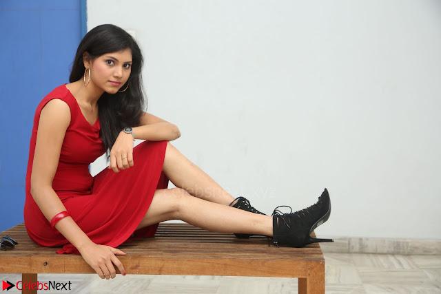 Mounika Telugu Actress in Red Sleeveless Dress Black Boots Spicy Pics 002.JPG