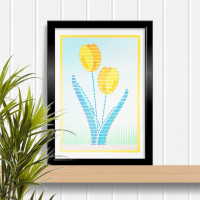 Yellow tulips Easter, Spring or Mother's day A4 stitching on card paper pricking hand embroidery pattern for framed wall art picture making.
