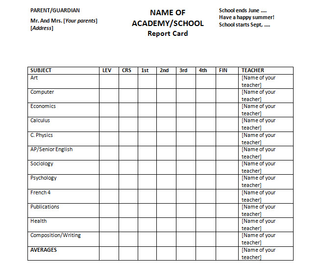 Report Card Template For Homeschools Or Colleges  Free Ms Office