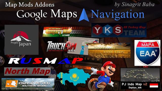 sinagrit baba ets 2 mods, ets 2 google maps navigation normal & night version map mods addons