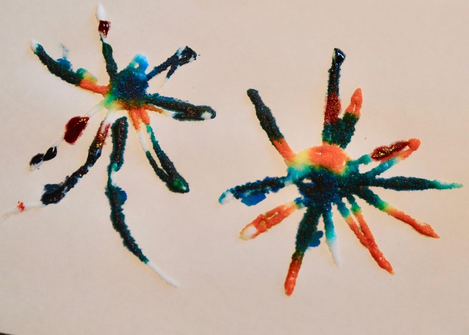 Aunt tamis house salt art fireworks toddler art