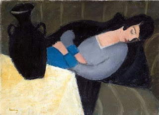 Sleeping Lady with Black Vase