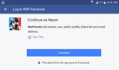 كما يمكنك دعوة اصدقائك من على فيسبوك للعبة WarFriends