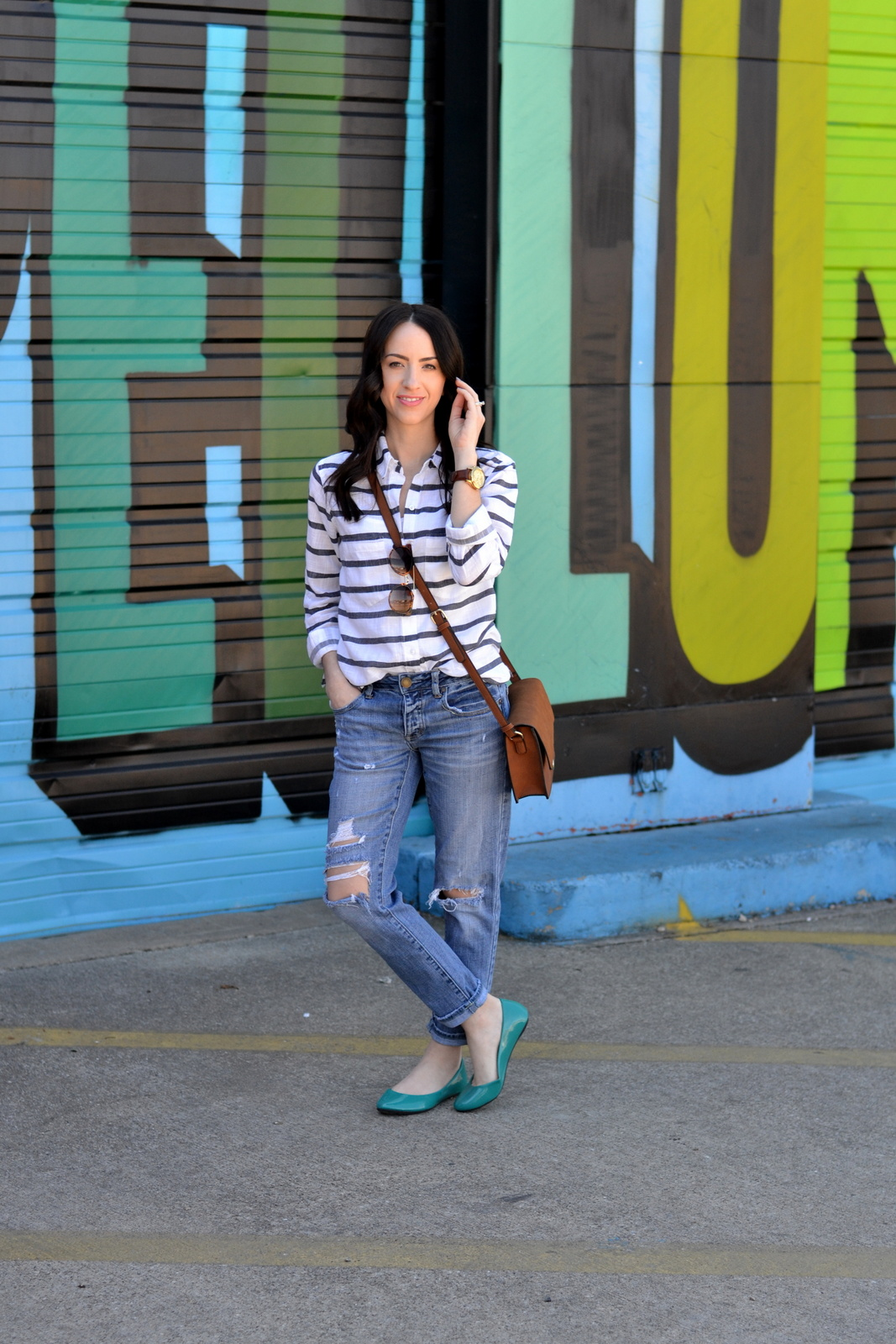 Casual Spring Outfit with colorful flats