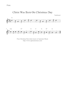 Christ Was Born On Christmas Day, flute sheet music