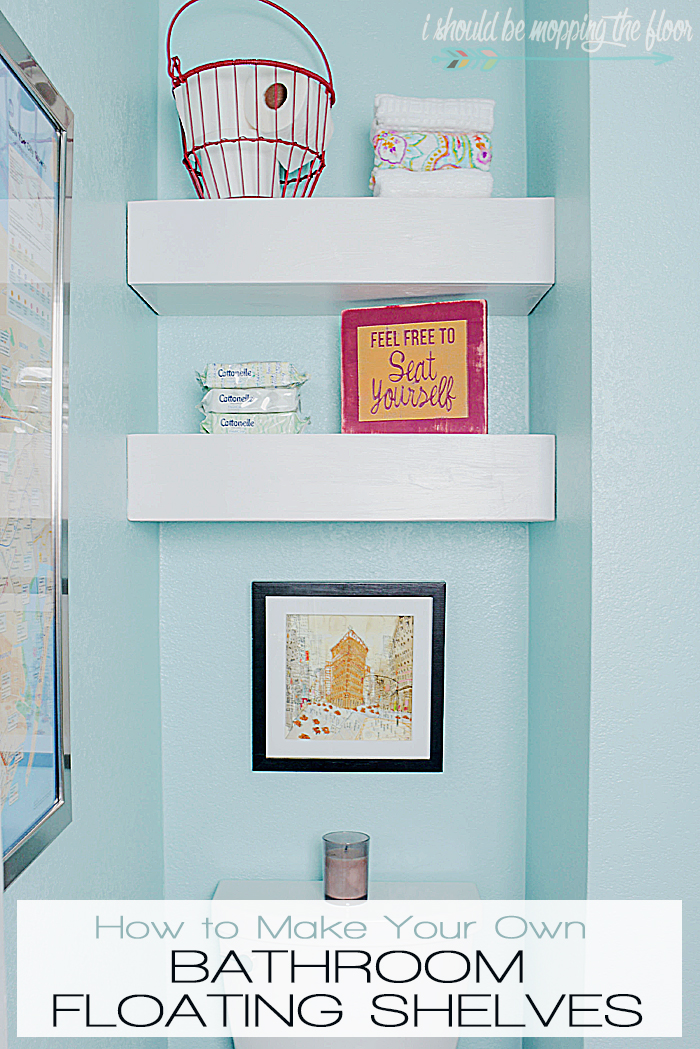 DIY Bathroom Floating Shelves: tutorial to build these simple shelves that are perfect for a tight spot.