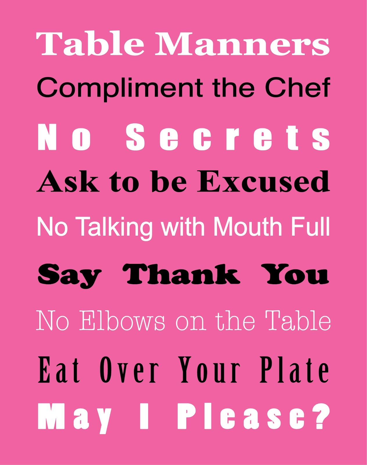Basic Table Manners Free Printable