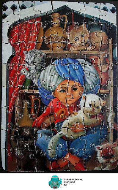 Маленький Мук пазл СССР, ГДР мозаика, игра. Маленький Мук кошки, коты, котята.