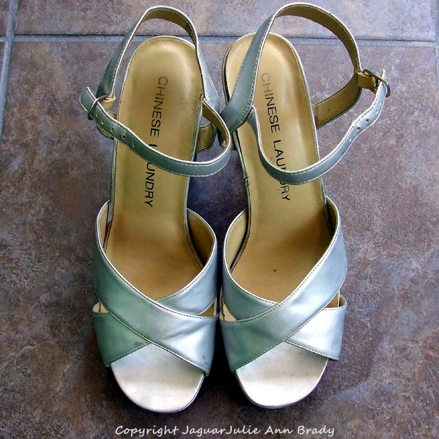 Chinese Laundry Silver Metallic Platform Heels