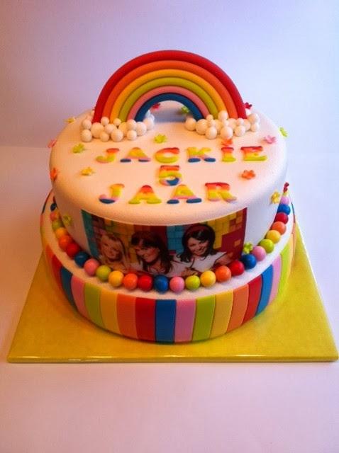 k3 taart met regenboog   taarten; gemaakt door jonne