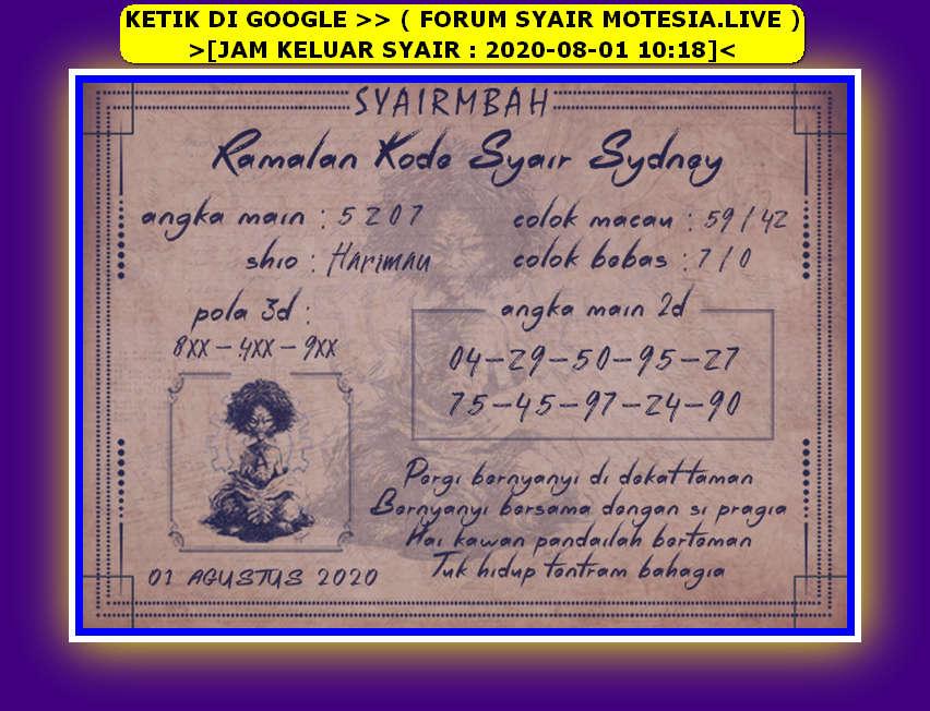 Kode syair Sydney Sabtu 1 Agustus 2020 46