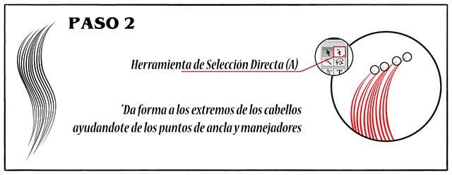 Tutorial en español de Adobe Illustrator para Crear Cabello Estilizado Paso 02