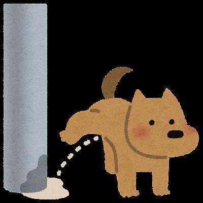 電柱にマーキングする犬のイラスト