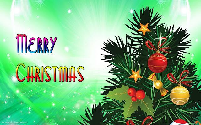 Kerstboom en de tekst Merry Christmas