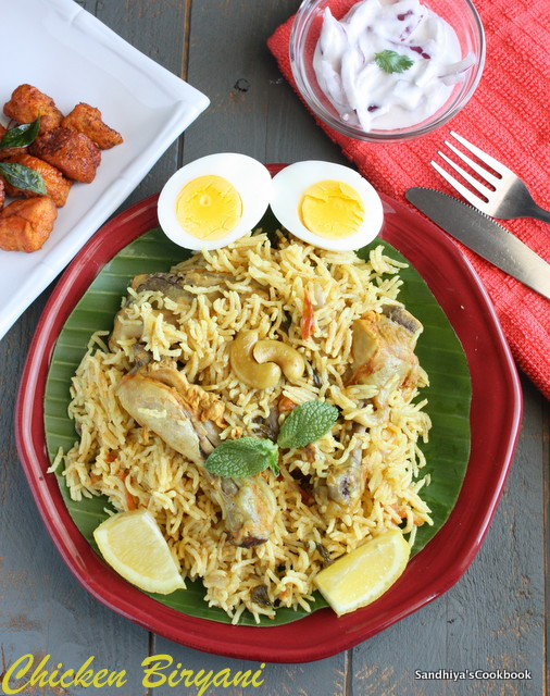 Sandhiyas cookbook chicken biryani in pressure cooker chicken traditionally in biryani meat and rice are cooked separately and then layered with one another and cooked together on dum its really a labor of love and forumfinder Image collections