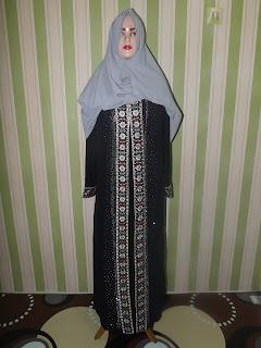Jual Baju Gamis Mewah Warna Hitam Kode ZQ.001