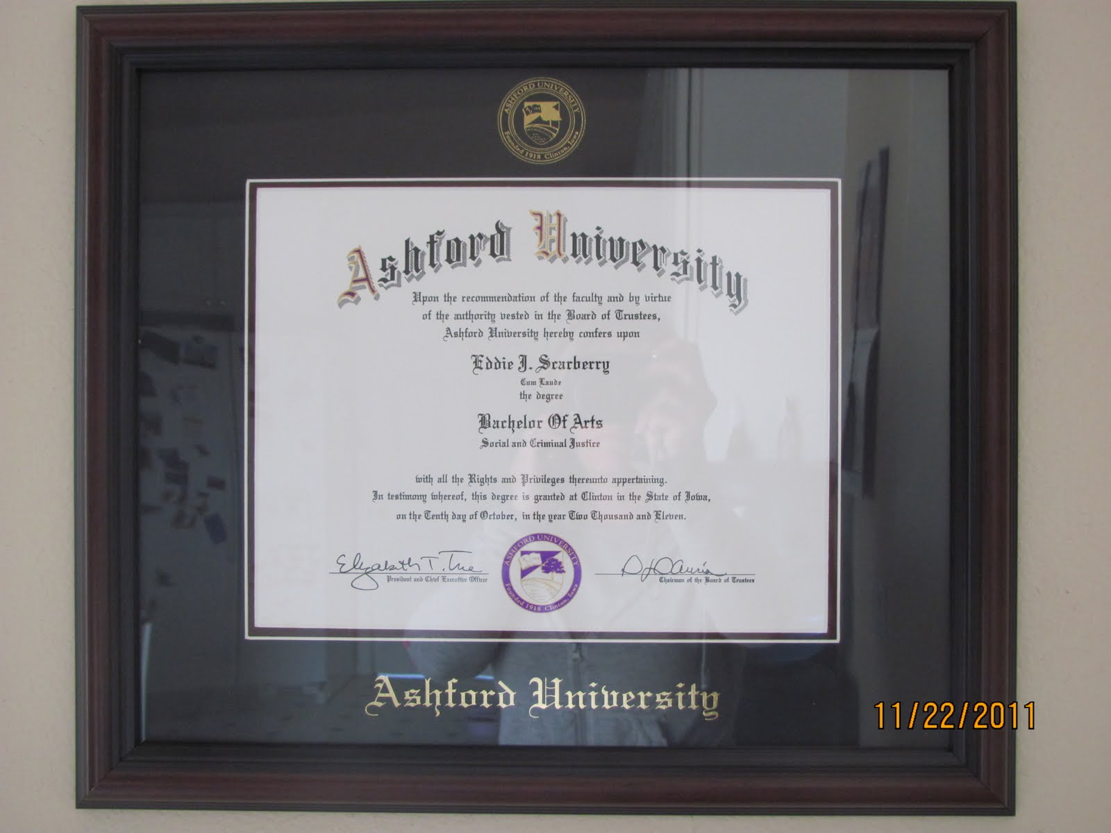 Ashford University Degree Diploma