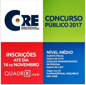 Concurso CORE-SC 2017 - Edital