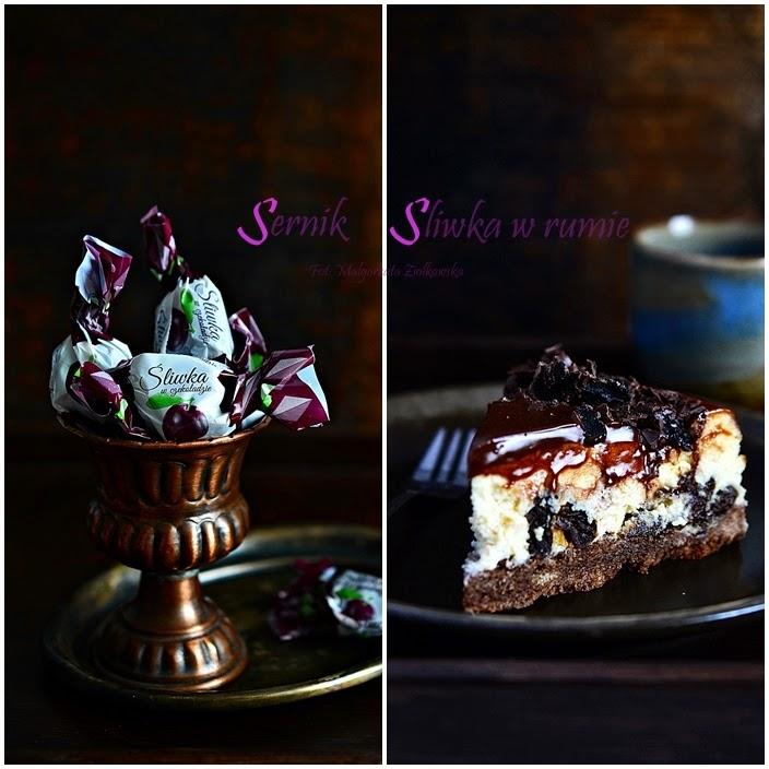 Sernik śliwka w rumie oblany mleczną czekoladą :-)