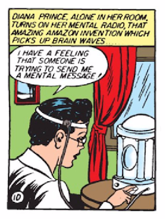 Wonder Woman (1942) #1 Page 42 Panel 2: Diana uses the Amazon Brain Wave Reader because she has a feeling someone needs her help.