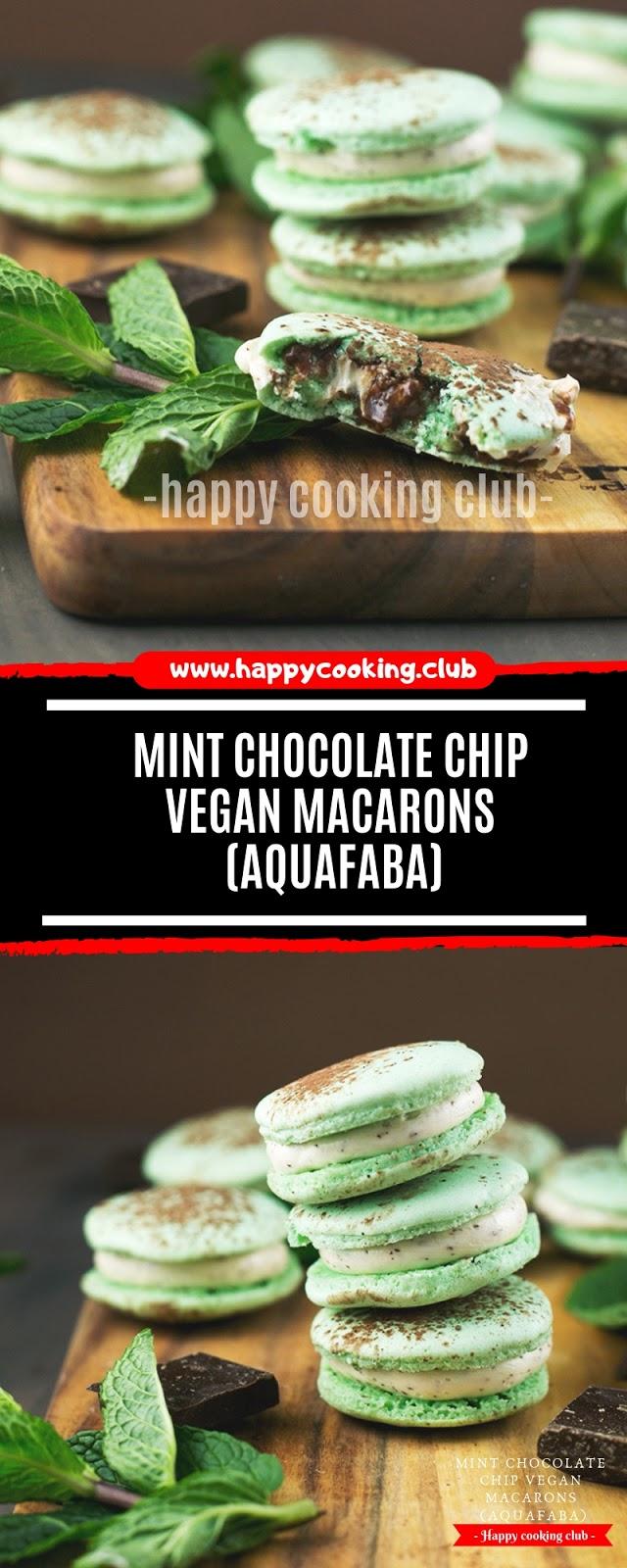 MINT CHOCOLATE CHIP VEGAN MACARONS (AQUAFABA)