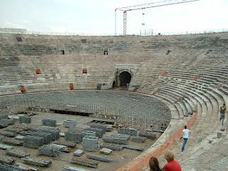 The Arena di Verona undergoes preparation for a concert