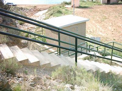 Pantano ,embalse, Pena ,Beceite ,frontera ,Valderrobres, escaleras
