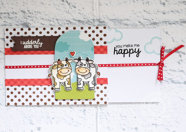 Sunny Studio Stamps: Miss Moo Barnyard Buddies Build-A-Tag Background Basics Fancy Frames Punny Card by Lexa Levana