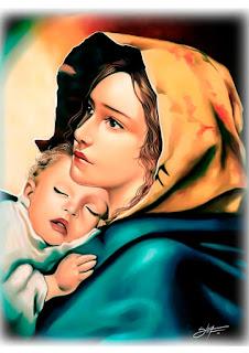 arte de nossa senhora com menino jesus