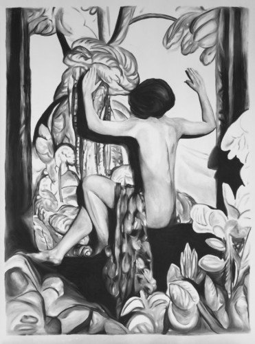 Rinus van de Velde A Tryptich of Questions, 2011 charcoal on paper 270 x 200 cm