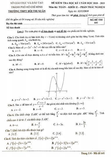 [Phần 5]Đề thi học kì 1 môn toán - lớp 12