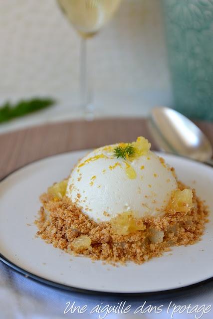 Crémeux bergamote, fenouil confit et streusel