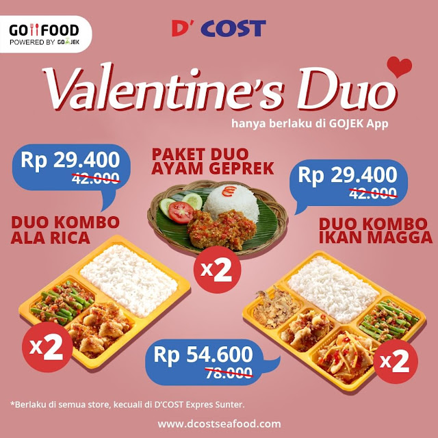 #D'Cost - #Promo Paket Valentine Duo Khusus GOFOOD Mulai Rp 29 Ribuan