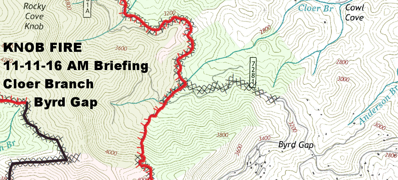 Knob Fire  Cloer Branch and Byrd Gap