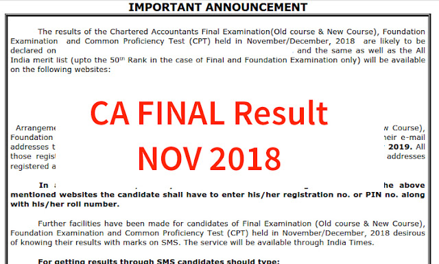 CA FINAL Result Nov 2018, CA CPT Result 2019, ICAI Exam Results