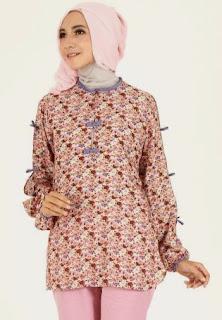 contoh baju batik muslim terbaru