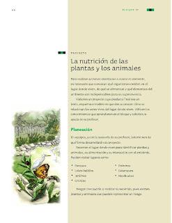 Apoyo Primaria Ciencias Naturales 3ro Grado Bloque II Proyecto La nutrición de las plantas y los animales