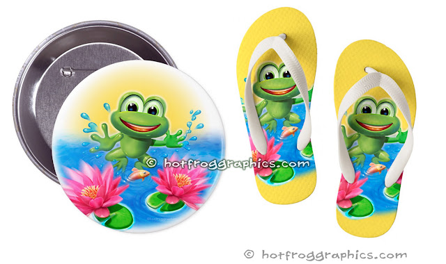 Badges and flip flop[s from Leaping Frog range by Hot Frog Graphics