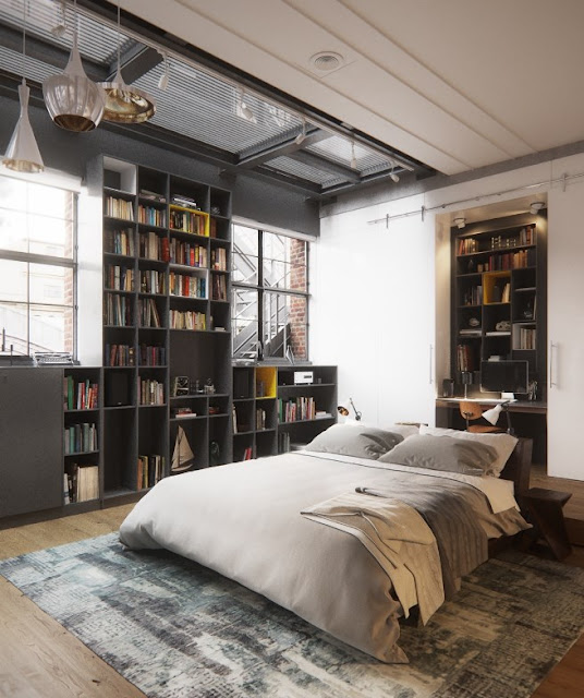 Filling the space between two factory-style windows, the books' many colours add flavour to a décor