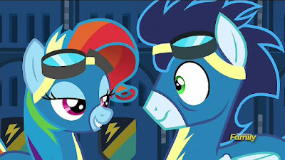 Rainbow Dash impersonating Rarity to Soarin'