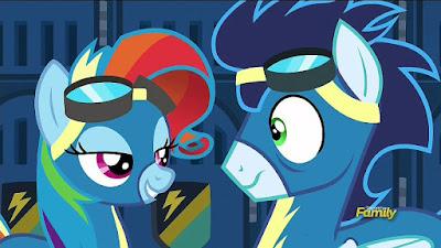 Rainbow Dash impersonating Rarity to Soarin'
