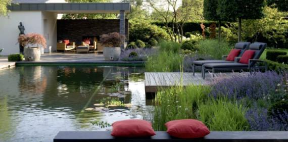 Backyard swimming pond and natural pool design ~ English ...