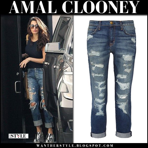 Amal Clooney in ripped boyfriend jeans current elliott and silver wedges paco rabbane street fashion october 6 2017