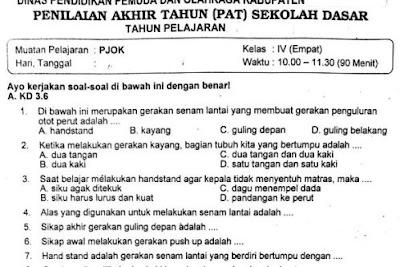Soal Ulangan PJOK Kelas 4 Semester 2 Kurikulum 2013