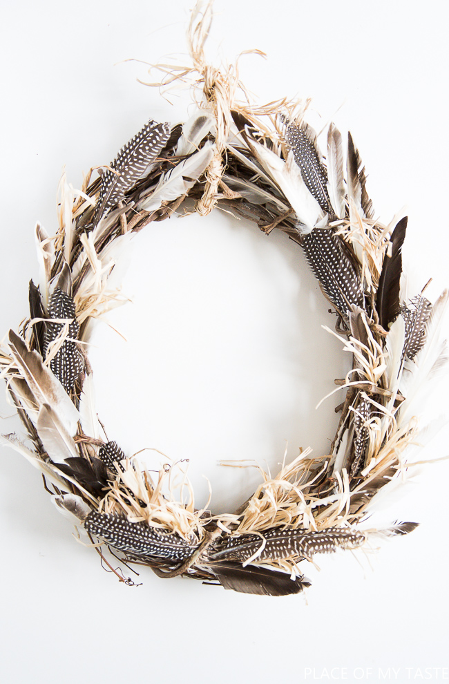 Boho feather fall wreath