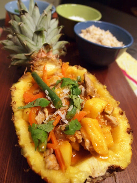 Pork & Pineapple Red Curry in a Pineapple Bowl