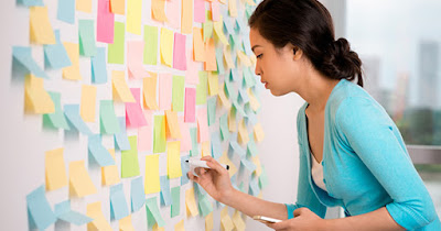 Woman organizing thoughts